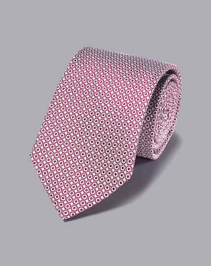 Stain Resistant Silk Tie - Berry & White