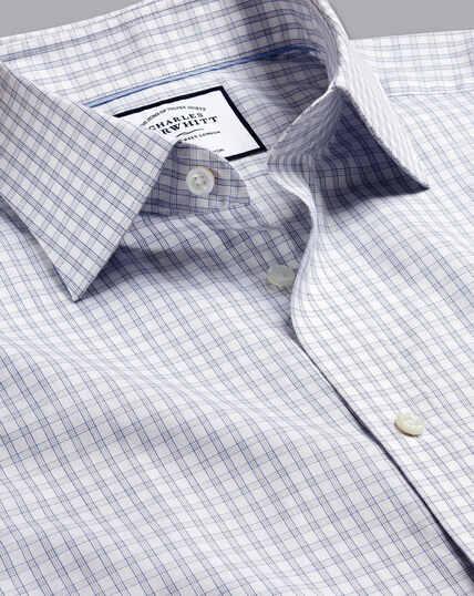 Popeline-Hemd aus ägyptischer Baumwolle mit Semi-Haifischkragen und Karos - Grau