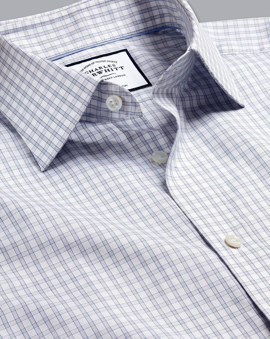 Semi-Spread Collar Egyptian Cotton Poplin Check Shirt - Grey