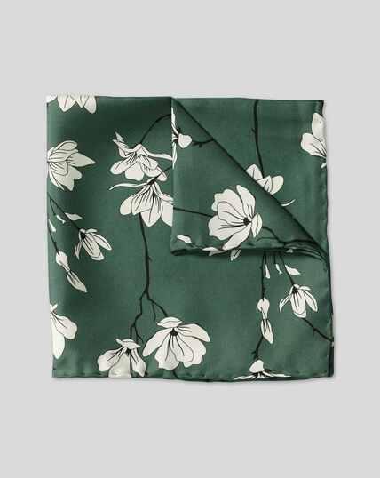 Large Floral Print Pocket Square - Green