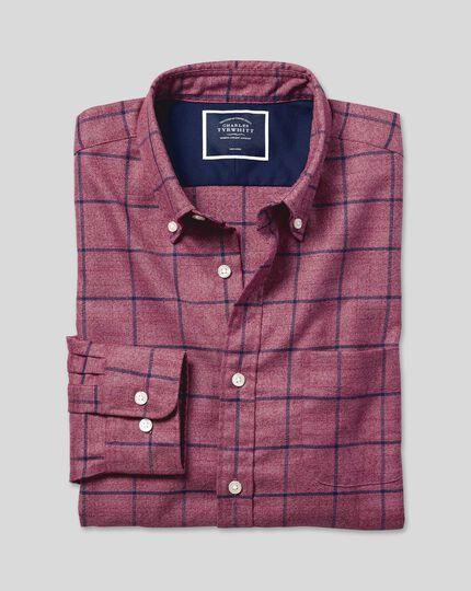 Button-Down Collar Non-Iron Twill Check Shirt - Berry & Navy
