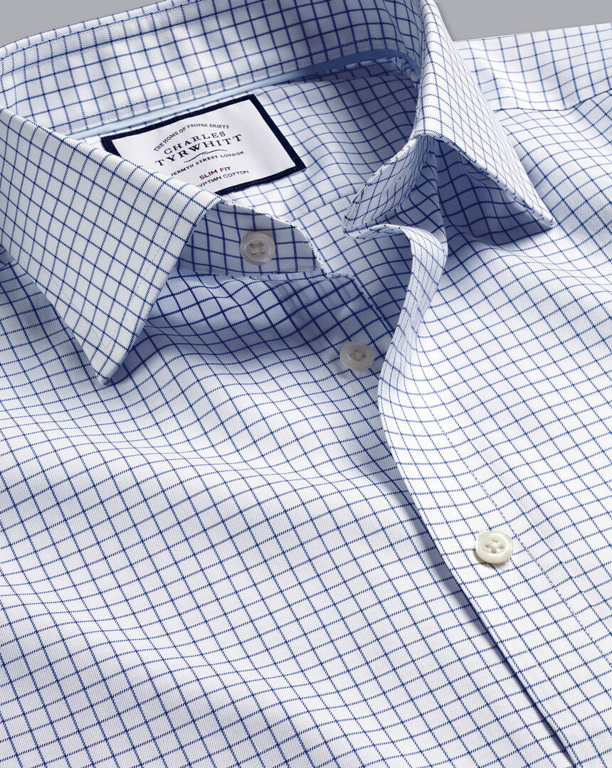 Semi-Cutaway Collar Egyptian Cotton Twill Check Shirt - Royal Blue
