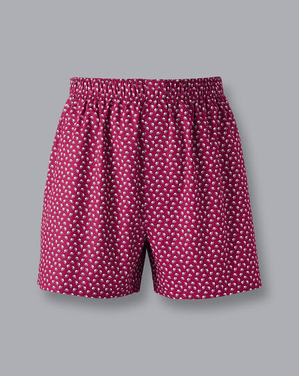 Hat Motif Woven Boxers - Red