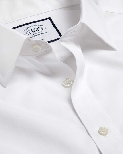 Non-Iron Tyrwhitt Cool Poplin Short Sleeve Shirt - White