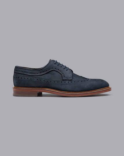 Derby-Schuhe aus Nubukleder mit Flügelkappen und flexibler Sohle - Französisches Blau