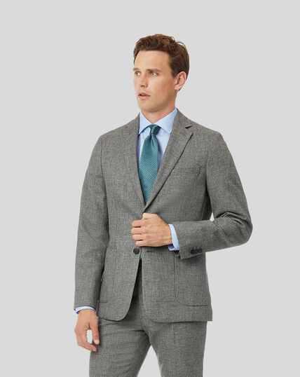 Wool Cotton Linen Suit Jacket - Grey