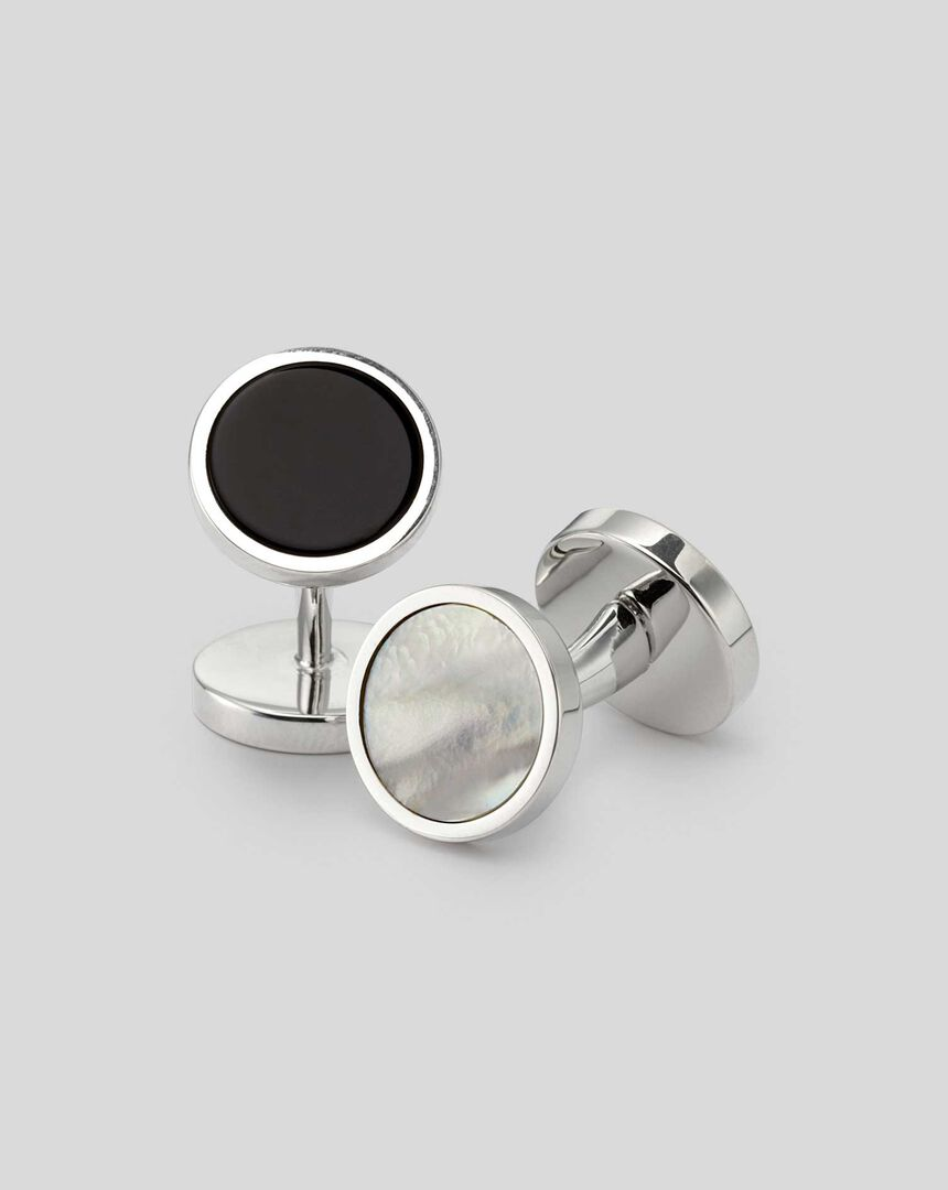 Mother of Pearl and Onyx Evening Cufflinks - Silver