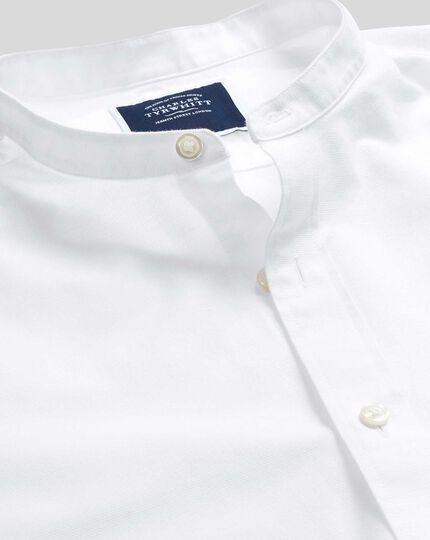 Kragenloses Hemd aus Baumwoll und Leinen - Weiß