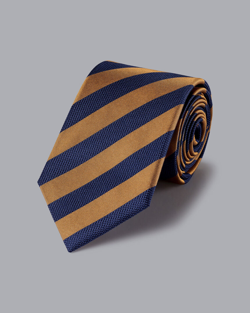 Silk Stripe Classic Tie - Rust & Navy