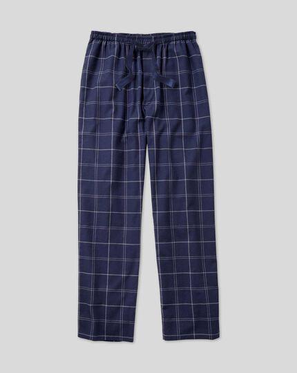 Check Pyjama Bottoms - French Blue & White