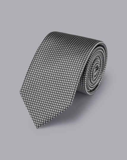 Gemusterte Krawatte aus Seide - Silbergrau