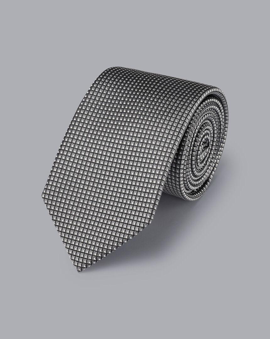 Silk Pattern Tie - Silver Grey