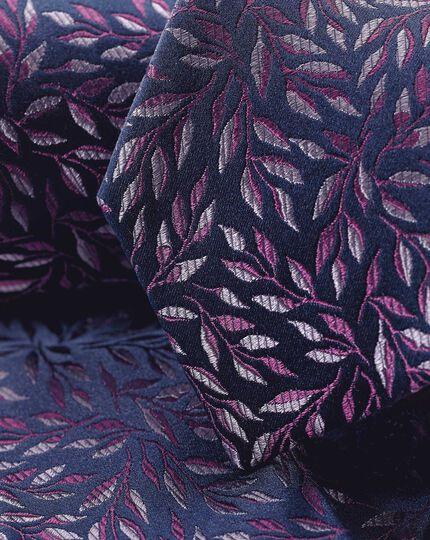 Krawatte aus Seide mit Blumenmuster - Marineblau & Violett