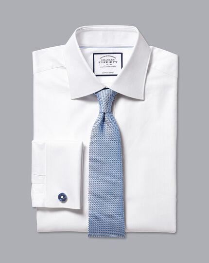 Semi-Spread Collar Egyptian Cotton Herringbone Shirt - White