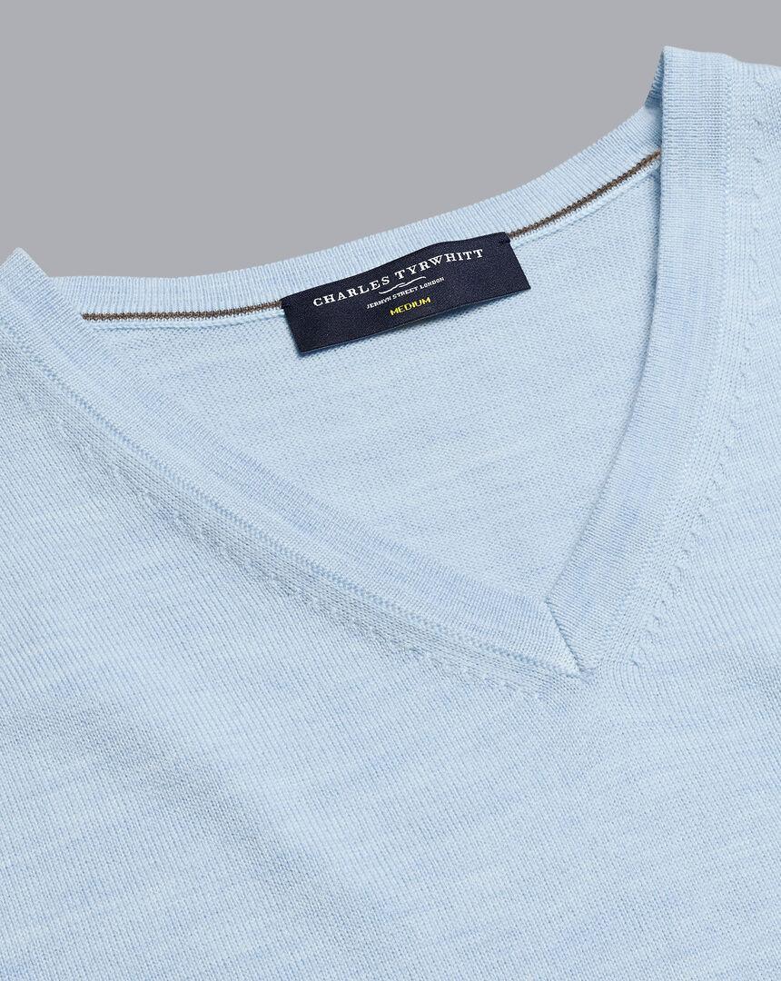 Merino V-Neck Sweater - Light Blue