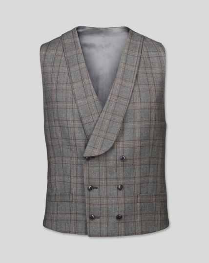 British Luxury Check Suit Waistcoat - Grey & Tan