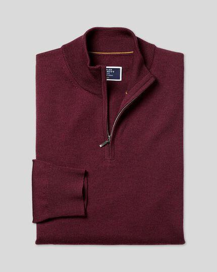 Merino Zip Neck Sweater - Burgundy