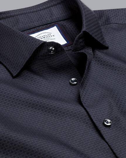 Semi-Cutaway Collar Non-Iron Stretch Texture Grid Shirt - Charcoal
