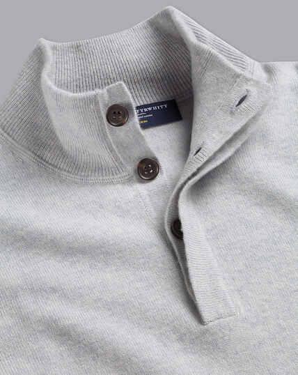 Pullover aus Merino-Kaschmir mit Knöpfen - Silber