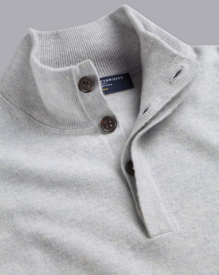 Merino Cashmere Button Neck Jumper - Silver