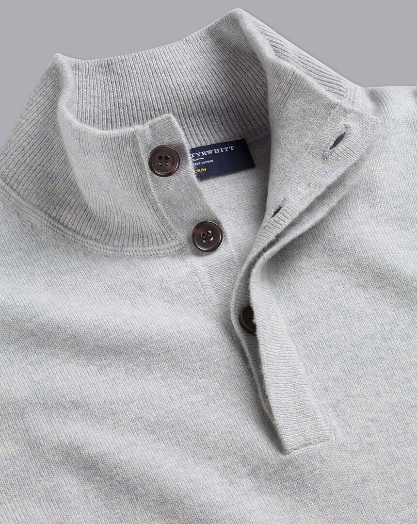 Merino Cashmere Button Neck Sweater - Silver