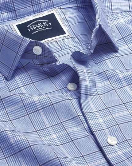 Lightweight Flannel Prince of Wales Check Shirt - Blue