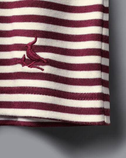 Tyrwhitt T-Shirt aus Baumwolle mit Streifen - Weinrot & Ecru