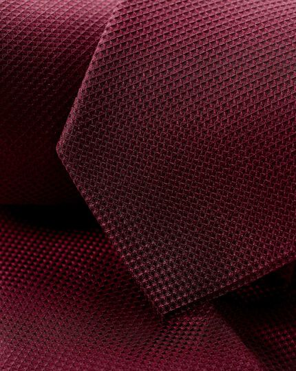 Stain Resistant Silk Textured Tie - Burgundy