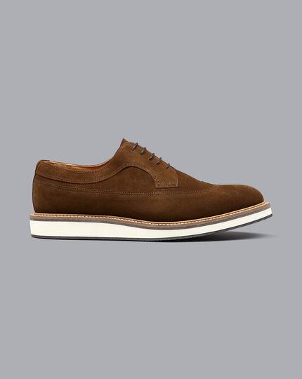 Derby-Schuhe aus Wildleder mit Flügelkappen - Gelbbraun