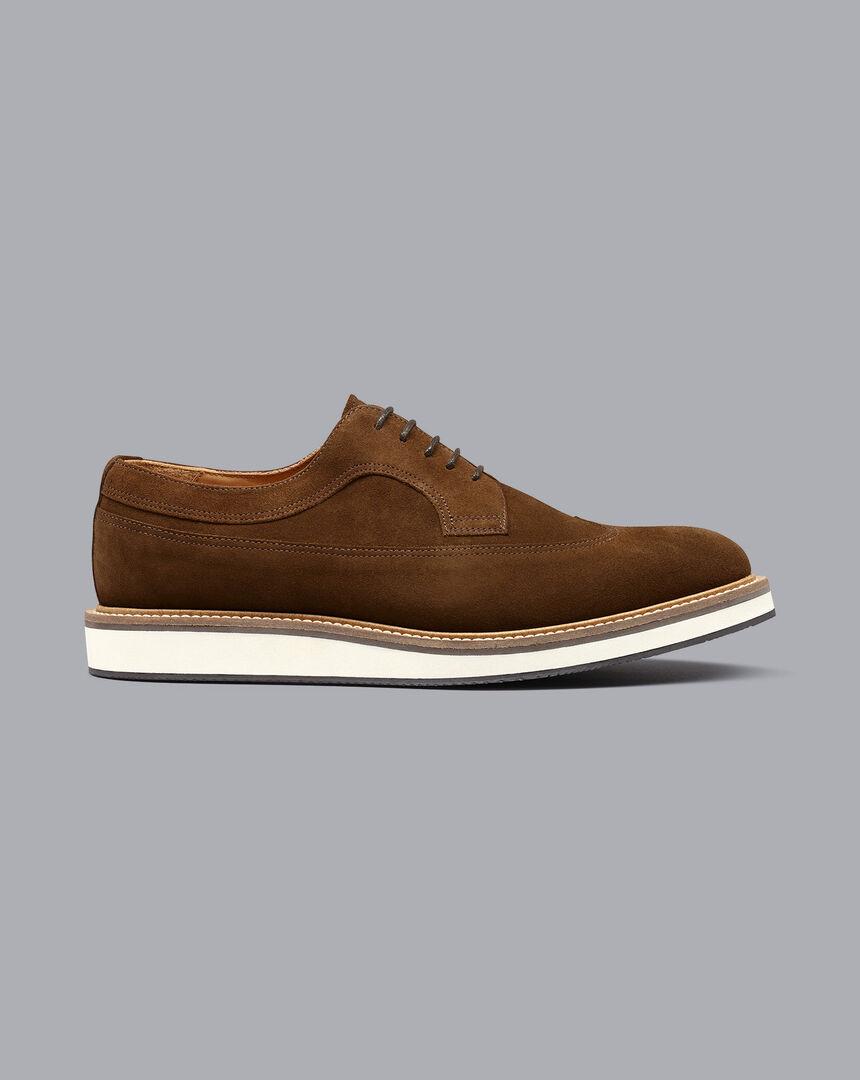 Suede Wingtip Derby Shoes - Tan