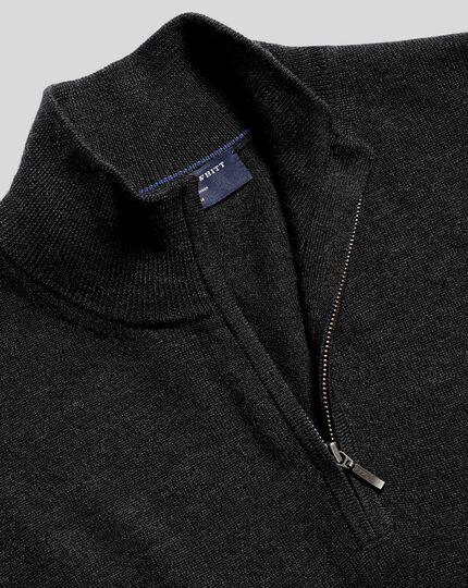 Merino Zip Neck Sweater - Charcoal Grey