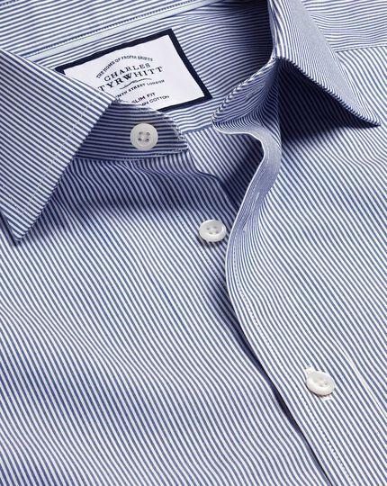 Semi-Cutaway Collar Egyptian Cotton Twill Bengal Stripe Shirt - Royal Blue