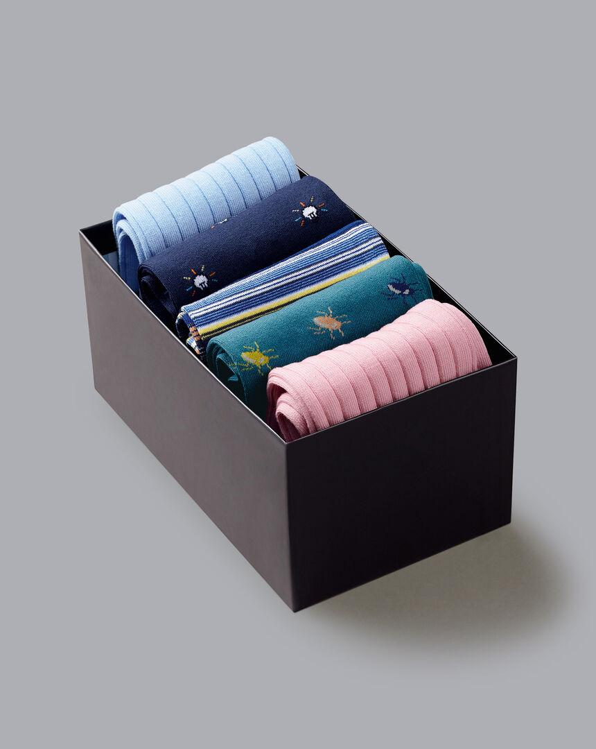Jacquard & Cotton Rib Sock Gift Box - Sky & Blue