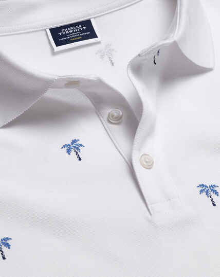 Tyrwhitt Pique Polo Palm Tree Print - White