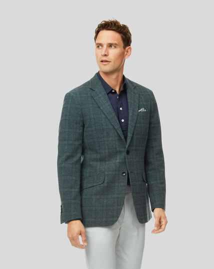Tyrwhitt Gent Check Wool Jacket - Green & Blue