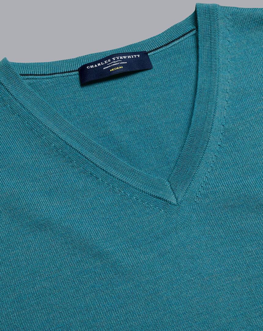 Merino V-Neck Sweater - Teal Melange
