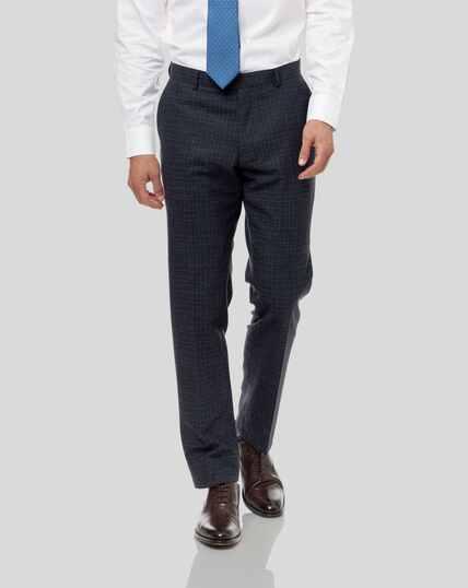 Grid Check Suit Trousers - Blue