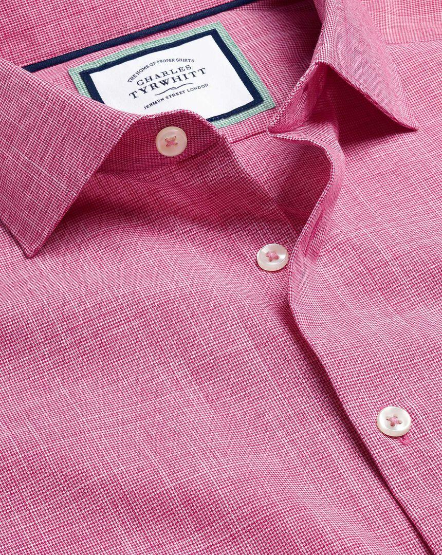 Business Casual Collar Cotton Slub Shirt - Pink