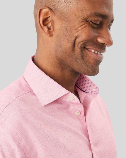 Business Casual Collar Cotton Linen Shirt - Pink