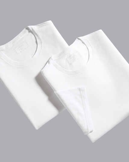 2er-Pack T-Shirts mit Rundhals - Weiß