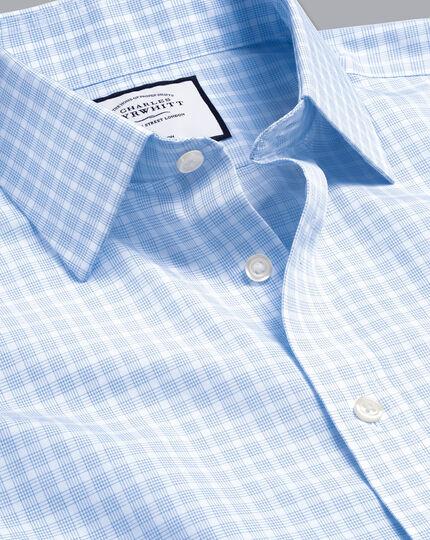 Non-Iron Poplin Check Shirt - Sky Blue