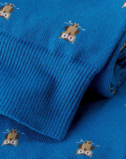 Owl Motif Socks - Blue