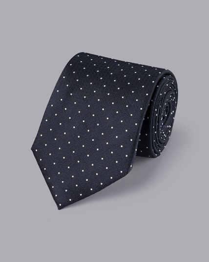 Stain Resistant Polka Dot Silk Tie - Dark Navy