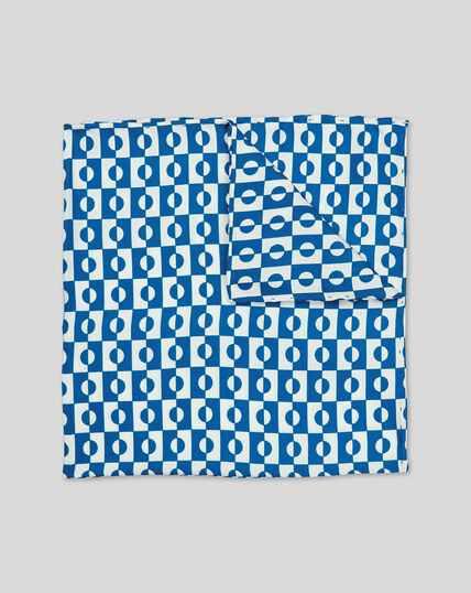 Abstract Geometric Print Pocket Square - Royal Blue & White