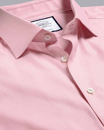 Semi-Cutaway Egyptian Cotton Deco Weave Shirt - Pink
