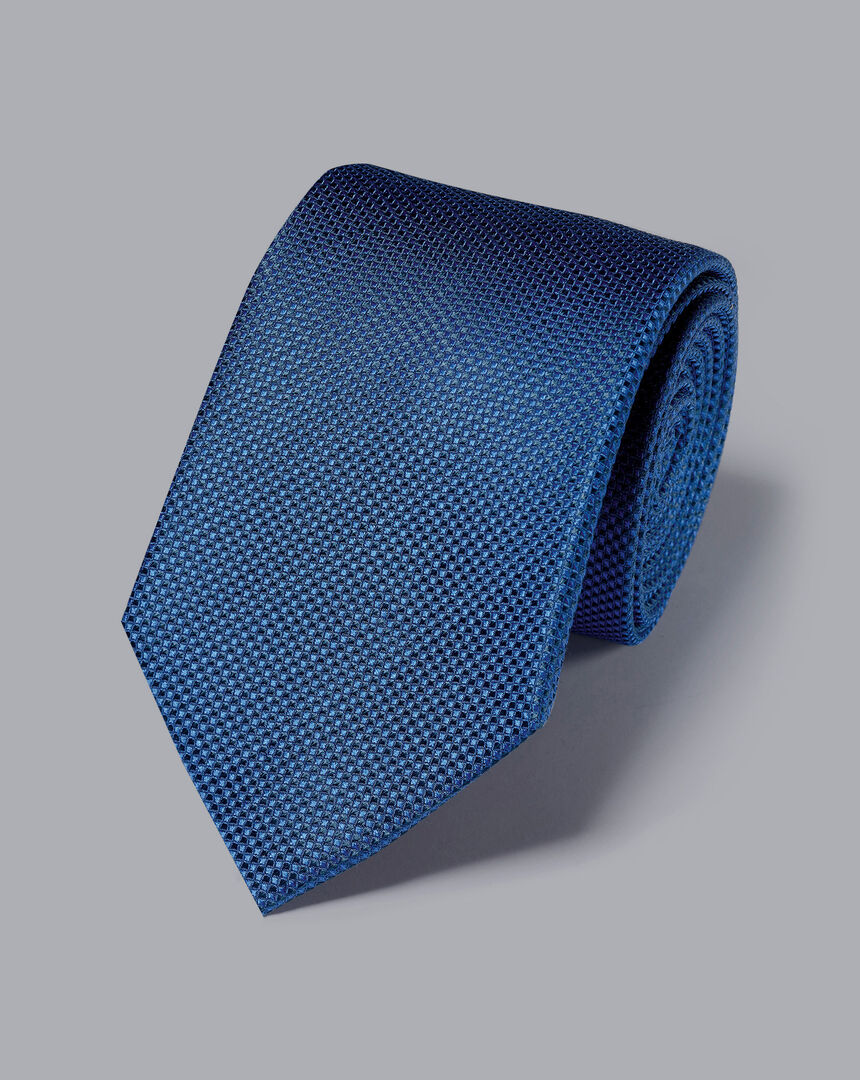 Stain Resistant Silk Textured Tie - Royal Blue