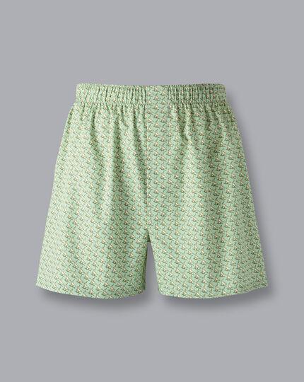 Lapwing Motif Woven Boxers - Light Green