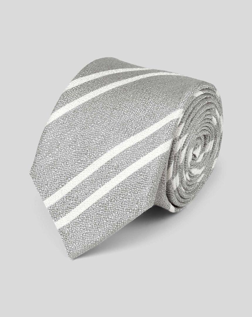 Slim Silk Linen Stripe Tie - Silver