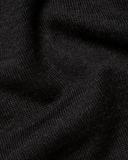 Merino-Hoodie mit Reißverschluss - Dunkles Anthrazit