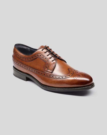 Goodyear Welted Brogue Wing Tip Derby Performance Shoes - Tan